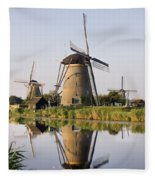 Wind Mills Next To Canal, Holland Fleece Blanket