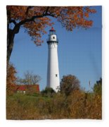 Wind Point Lighthouse 74 Fleece Blanket