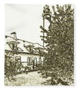 Wind Point Lighthouse Drawing Mode 2 Fleece Blanket