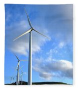 Wind Turbine Farm Fleece Blanket