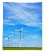 Wind Turbines Farm Fleece Blanket