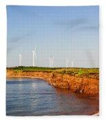 Wind Turbines On Atlantic Coast Fleece Blanket