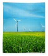 Wind Turbines On Green Field Fleece Blanket