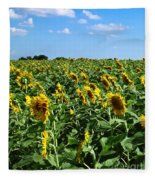 Windblown Sunflowers Fleece Blanket