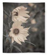 Windblown Wild Sunflowers Fleece Blanket