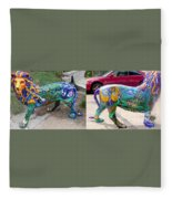 Winding Earth Camo Lion Fleece Blanket