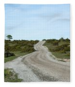 Winding Gravel Road Through A Landscape With Lots Of Junipers Fleece Blanket
