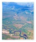 Winding River From The Seaplane In Katmai National Preserve-alaska Fleece Blanket