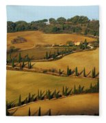 Winding Road And Cypress Trees In Tuscany 1 Fleece Blanket