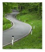 Winding Road In The Woods Fleece Blanket