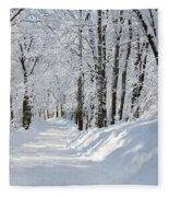 Winding Snowy Road In Winter Fleece Blanket