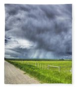 Windmill And Country Road With Storm Fleece Blanket