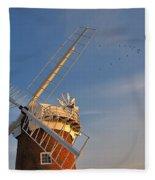 Windmill At Dusk On The Norfolk Broads In Autumn Fleece Blanket