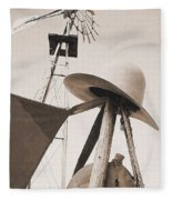 Windmill Canteen And Cowboy Hat 4 Fleece Blanket