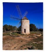 Windmill In El Pilar De La Mola On Formentera Fleece Blanket