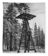 Windmill In The Snow Black And White Fleece Blanket