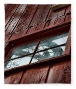 Windmill Reflected In Barn Window Fleece Blanket