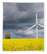 Windmill With Motion Blur In Rapeseed Field Fleece Blanket