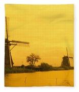 Windmills Netherlands Fleece Blanket