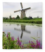 Windmills Of Kinderdijk With Flowers Fleece Blanket