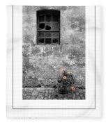 Window And Flowers Poster Fleece Blanket