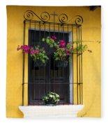 Window At Old Antigua Guatemala Fleece Blanket