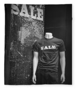 Window Display Sale In Black And White Photograph With Mannequin No.0129 Fleece Blanket