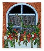 Window Flower Box On A Stucco Wall Fleece Blanket