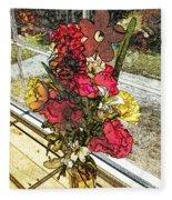 Window Flowers Fleece Blanket