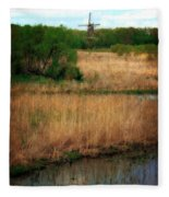 Window On The Waterfront Dezwaan Windmill Fleece Blanket