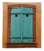 Window With Turqouise Shutters In Colmar France Fleece Blanket