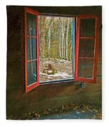 Window With View Abandoned Elkmont Log Cabin Autumn Fleece Blanket