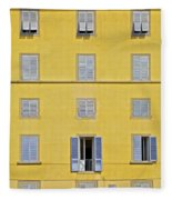 Windows Of Florence Against A Faded Yellow Plaster Wall Fleece Blanket