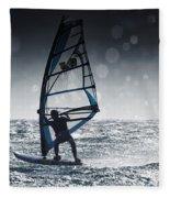 Windsurfing With Water Drops On Camera Fleece Blanket