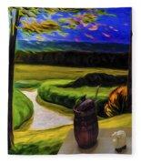 Windy Autumn With Still Life 05 Fleece Blanket