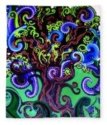 Windy Blue Green Tree Fleece Blanket