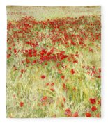 Windy Poppies At The Fields Fleece Blanket