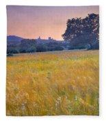 Windy Sunset At The Medieval Castle Fleece Blanket