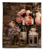 Wine And Roses Fleece Blanket