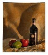 Wine Apples And Cheese Fleece Blanket