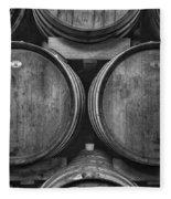 Wine Barrels Monochrome Fleece Blanket