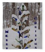 Wine Bottle Sculpture Christmas Card Fleece Blanket