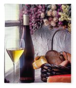 Wine Bottle With Glass In Window Fleece Blanket