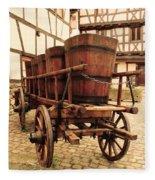 Wine Cart In Alsace France Fleece Blanket