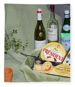 Wine Cheese And Crackers Fleece Blanket