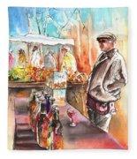 Wine Vendor In A Provence Market Fleece Blanket