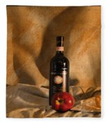 Wine With An Apple And Cheese Fleece Blanket