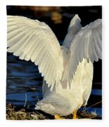 Wings Of A White Duck Fleece Blanket