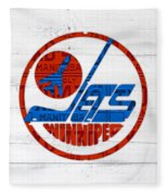 Winnipeg Jets Retro Hockey Team Logo Recycled Manitoba Canada License Plate Art Fleece Blanket