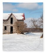 Winter Abandoned Farmouse Fleece Blanket